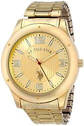 U.S. Polo Assn. Classic Men's USC80014 Oversized Bezel Gold Dial Expansion Watch