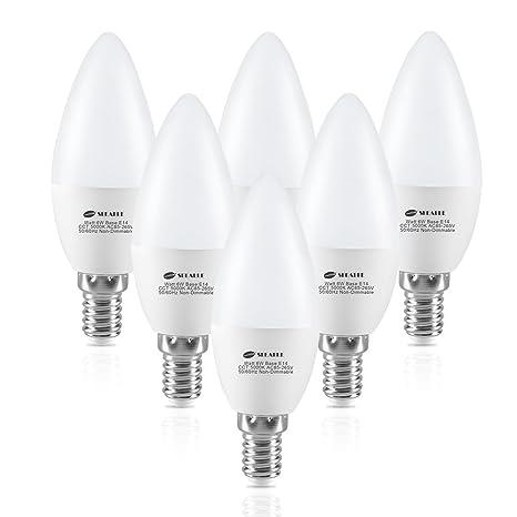 Bombillas LED E14 de vela, SEEALLE C37 E14, 5000 K, luz blanca cálida, 6 W C37 (SES) Bombilla pequeña de rosca ...