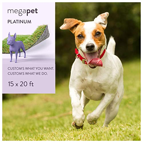 MEGAGRASS 15 x 20 Ft Rolls Pet Platinum - Indoor and Outdoor Artificial Grass Patch for Dogs and Fake Puppy Potty Training Pee Pads, 300 Square Ft
