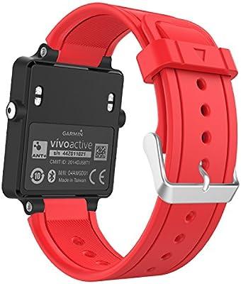 MoKo Garmin Vivoactive Correa de Reloj, Suave Silicona Reemplazo Watch Band para Garmin Vivoactive/Vivoactive Acetate Sports GPS Smartwatch - Rojo