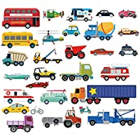decalmile Cars Wall Stickers Transports Kids Room Wall...