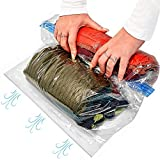 10 Large Rolling Compression Bags for Saving Space When Packing & Storing Clothes. No Need for Pump just Roll & Save 80% Luggage Space. for Flights, Travels, Camping. Double Zipper. 100% Waterproof