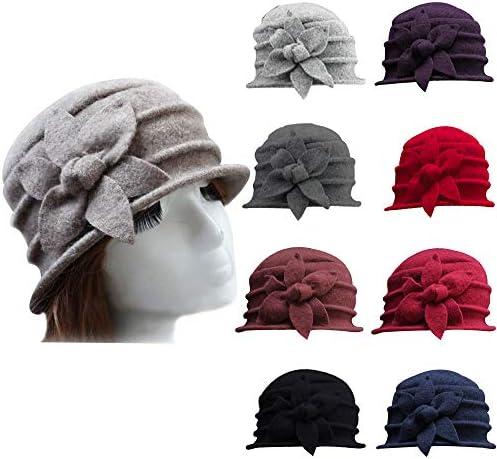 Cinna-Stir Women Fashion Elegant Wool Flowers Winter Warm Retro Cloche Bucket Cap
