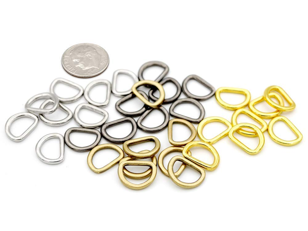 Antique Brass, 1//2 Inch CRAFTMEmore 3//8 or 1//2 Inch Tiny D-Ring Findings Metal Welded D Rings for Zip Connector Puller Landyard Purse Making Pack of 50