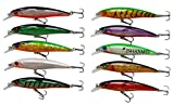 JSHANMEI 10pcs/lot 3D Fishing Eyes Laser Line Hard Minnow Baits Life-like Swimbait Fishing Lures Bass Crankbait Tackle for Pikes/Bass/Trout /Walleye/Redfish