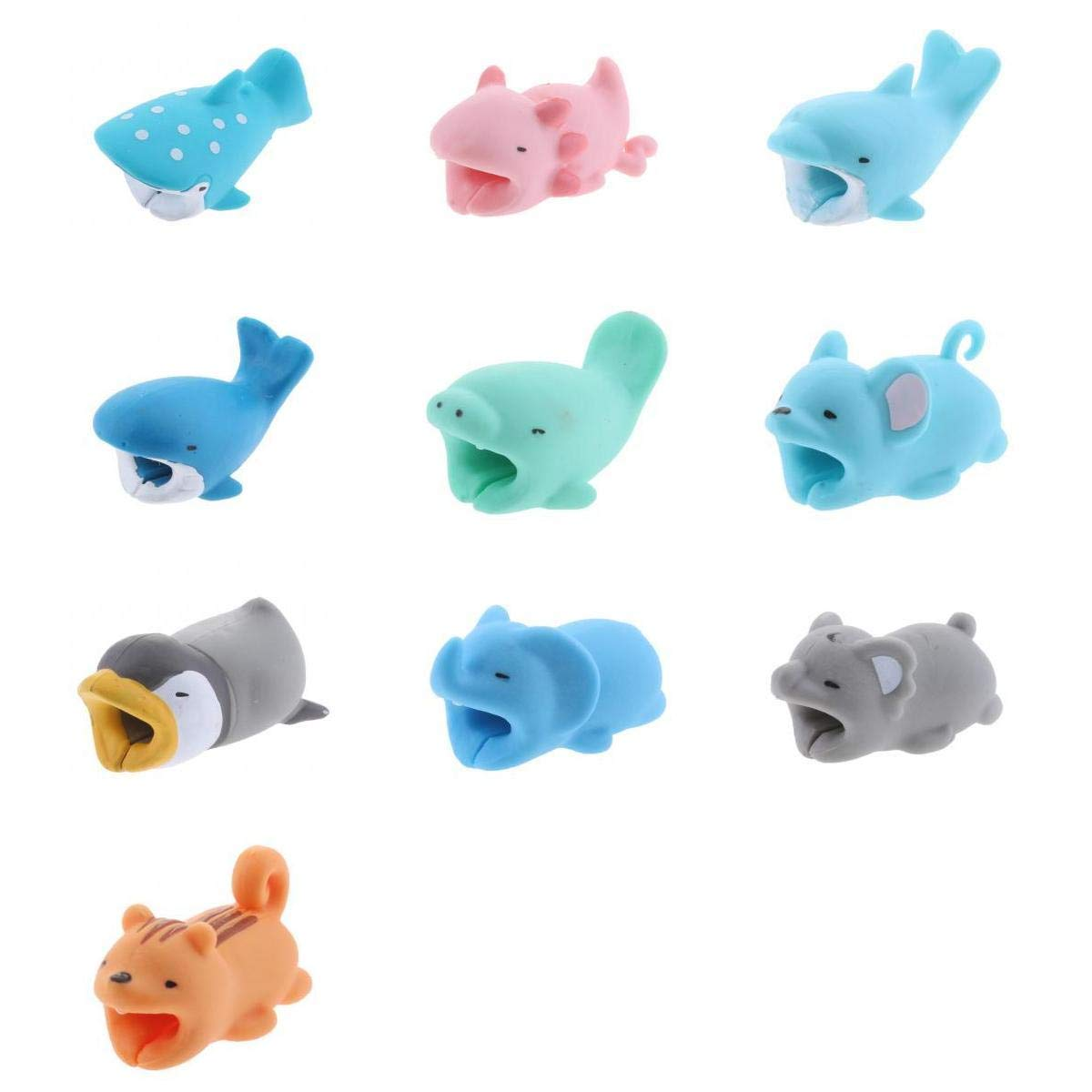 MagiDeal 10Pieces Animal Wire Protectors Headphone Cable Saver for Apple Android Universal Charging Cable Accessory