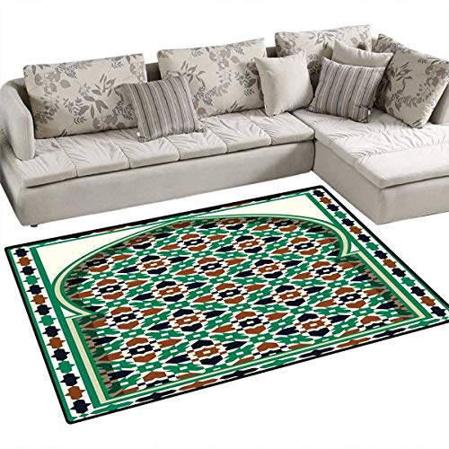 (Moroccan Door Mats for Inside Middle Eastern Style Moroccan Arch with Medieval Floral Details Retro Mosque Bath Mat for Bathroom Mat 36