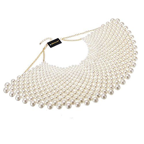 Bib Collar Necklace Chunky Pearl Resin Beads Chain Choker Statement Necklace Womens Fashion Jewelry Necklace (White)