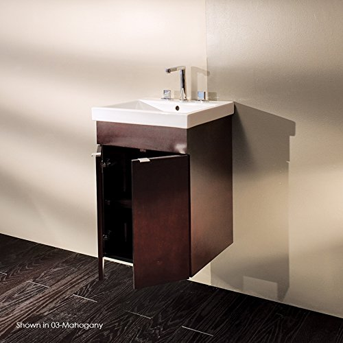 - wall-mounted porcelain lavatory with overflow and one faucet hole,Unfinished back. 19 3/4