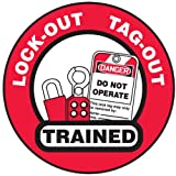 Accuform Signs LHTL344 Adhesive Vinyl Hard Hat Decal, Legend''LOCK-OUT TAG-OUT TRAINED'' with Graphic, 2-1/4'' Diameter, Red/Black on White (Pack of 10)