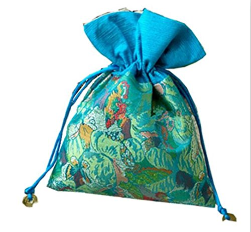 Startdy Chinese Element Silk Brocade Jewelry Coin Candy Goodie Pouches With Copper Cash Double layer Drawstring Gift Bag 8pcs