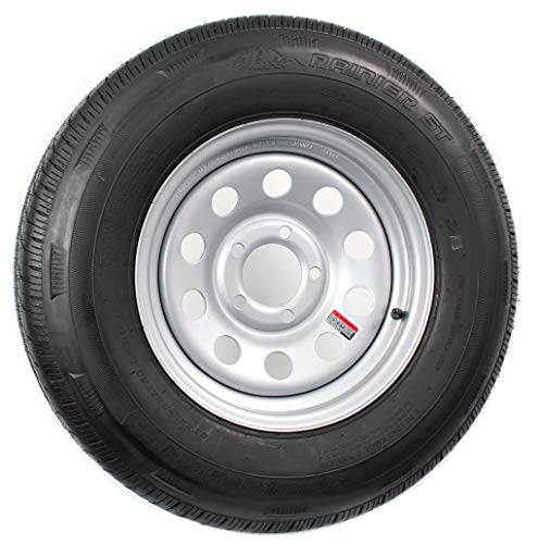 2-Pack Mounted Trailer Tire On Rim ST205/75R14D 14X5.5 (5 on 4.5) Silver Modular