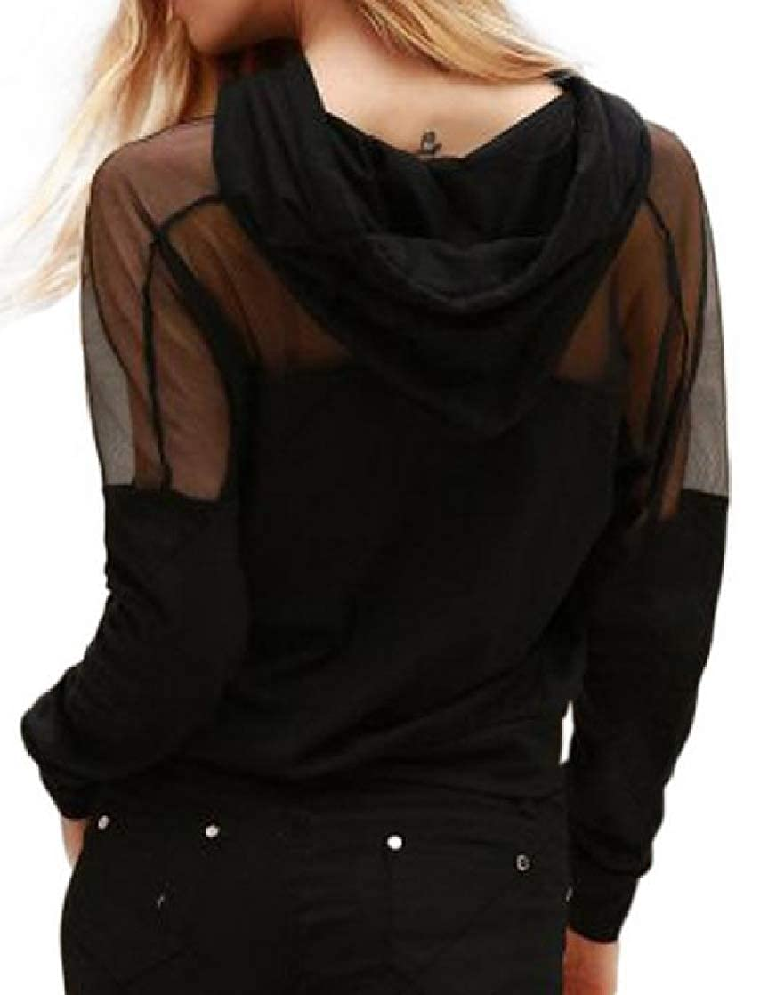 Joe Wenko Women Sport Transparent Pocket Drawstring Mesh Pullover Hooded Sweatshirts