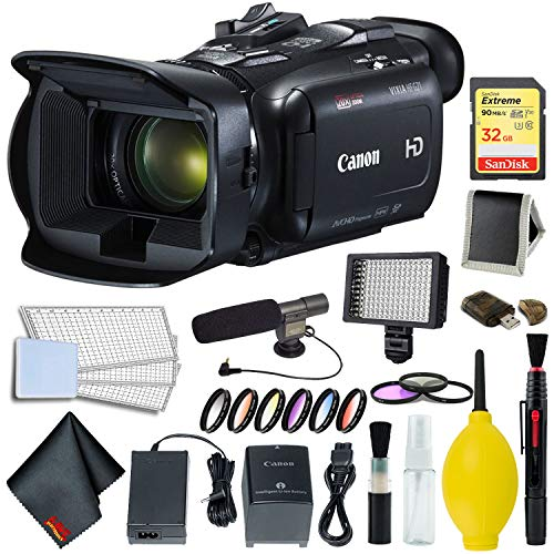 Canon VIXIA HF G21 Full HD Camcorder 2404C002 Bundle w/ 64GB Memory Card, Pro LED Video Light, Professional Microphone, and Professional Headphones