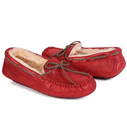 Mocassino Da Donna In Pelle Pennino Ozzeg Slip On Flat Shoes Fodera In Montone Rosso
