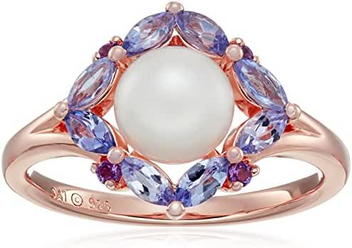 Sterling Silver with Pink Gold Plating Pearl, Tanzanite and Amethyst Ring, Size 7