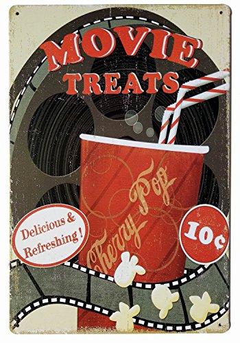 ERLOOD Movie Treats Vintage Funny Home Decor Tin Sign Retro Metal Bar Pub Poster 8 x 12