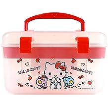 Sanrio Hello Kitty Multi Jewelry Case Box Desk Organizer Box : White and Red