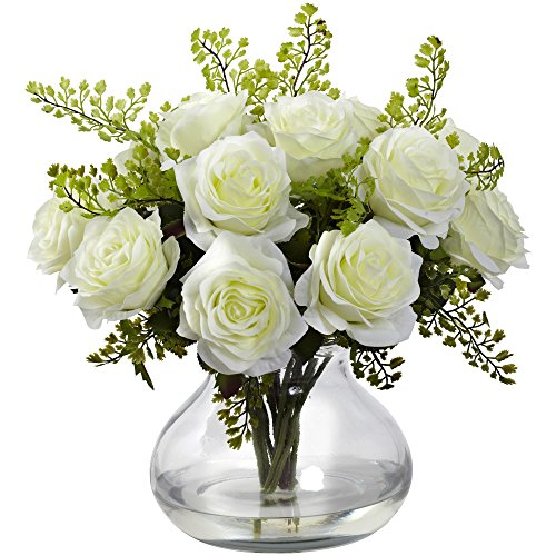 Nearly Natural 1366-WH Rose and Maiden Hair Arrangement with Vase, White