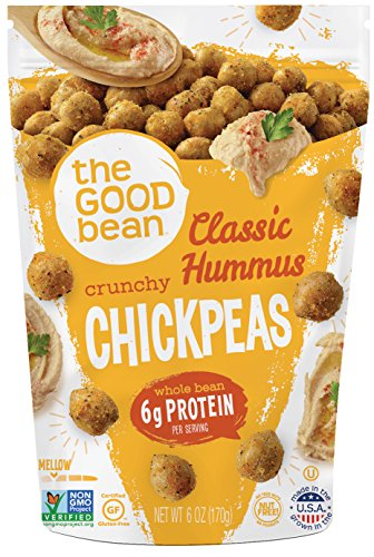 The Good Bean Chickpea Snacks,Gluten and Nut Free, Hummus, 6 Count Chick Peas Hummus