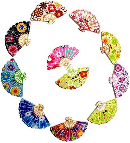 【ノーブランド品】穴付 DIY 工芸品 約100個 混合色 印刷 扇形 扇子 木製ボタン 装飾 裁縫