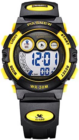 AZLAND Boys Watches,Sports Watch,Digital Watch Features Night-light,Swim,Frozen,Waterproof,Yellow
