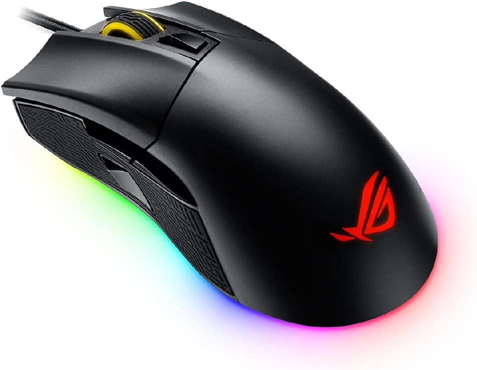 ASUS Optical Gaming Mouse - P502 ROG Gladius II | Ergonomic Right-Hand Grip | PC Gaming Mouse for FPS Games | 12000 DPI Optical Sensor | Omron Switches | 6 Buttons | Aura Sync RGB Lighting