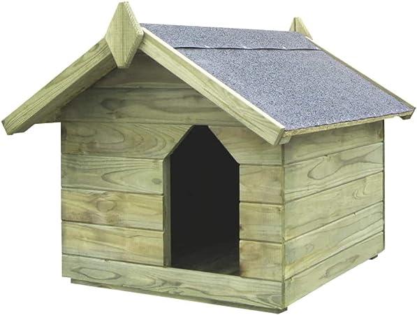 Tidyard Casas de Perros para Jardín,Caseta de Exterior para Perros,Apertura de Techo,Impermeable y Resistente Intemperie y Putrefacción,Madera Pino Impregnada 74x78,5x61,5cm: Amazon.es: Hogar