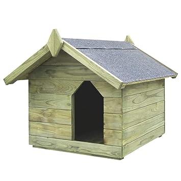 Festnight- Casa de Perro de Jardín Tejado Abierto Verde 74 x 78,5 x 61,5 cm: Amazon.es: Hogar
