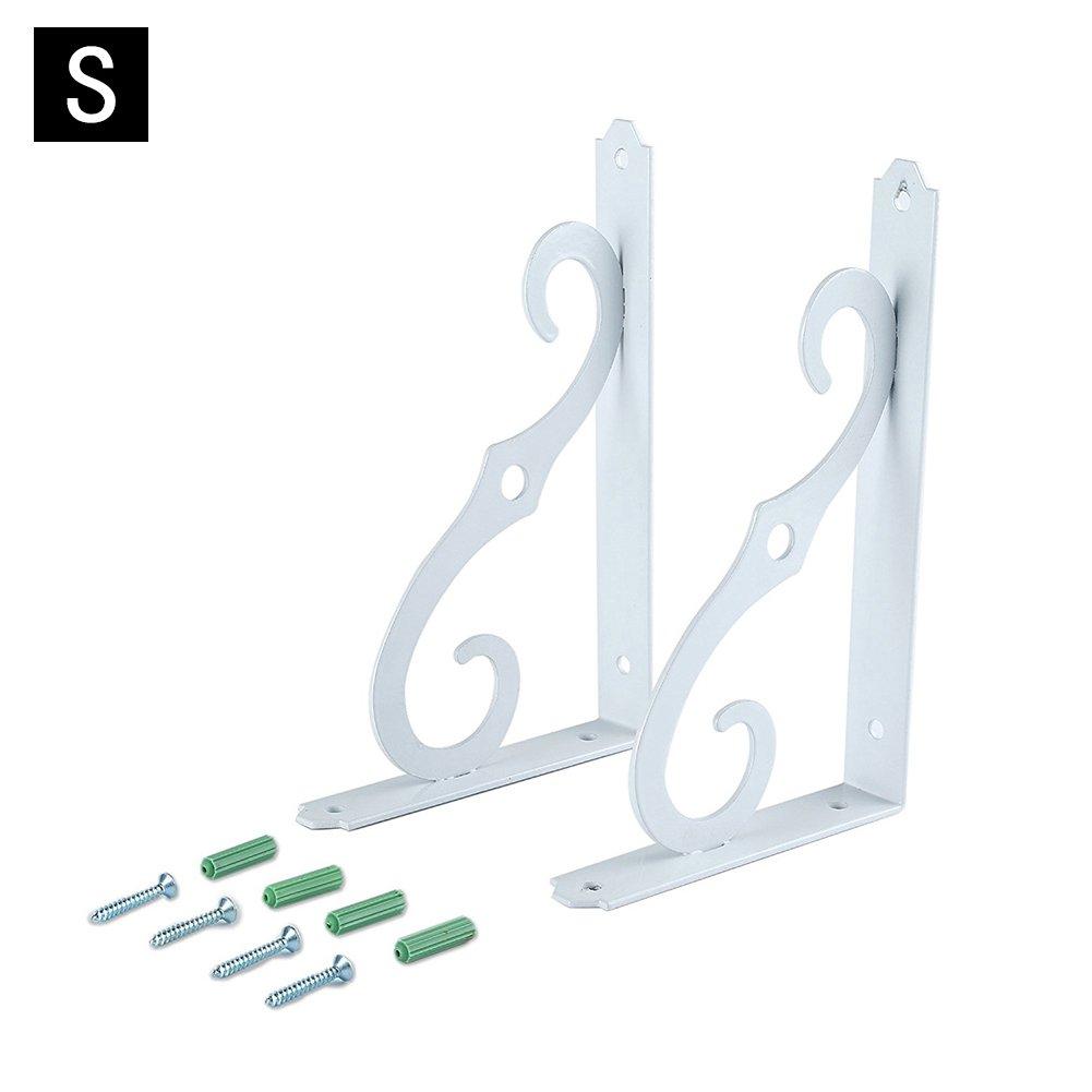 2 PCS Wall Mounted Shelf Brackets, Iron, for Home's Storage, White