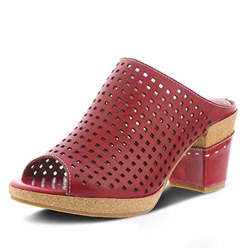 Lartiste Våren Steg Womens Stil Tålamod Läder Sandal Röd