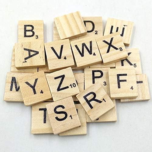 Juego de 100 letras de madera con letras del alfabeto, letras y números de Scrabble para manualidades y maderas Capital Letters Talla:onesize: Amazon.es: Bebé