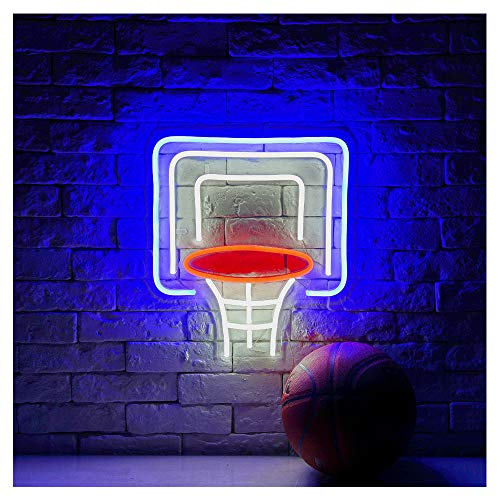 - Basketball Hoop LED Neon Sign Lights Art Wall Decorative Lights14.88''x16.6'' (Basketball Hoop-Blue/White/Red)