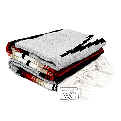 Heather Gray Mexican Yoga Blanket - Thick Navajo Diamond with Camel, Tan Brown, Red Clay Stripes