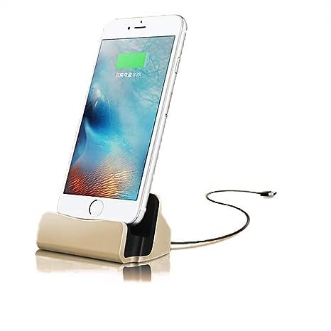 Teléfono Muelle Soporte de Carga Muelle de la estación Base de Carga Base para iPhone X 8 7 6 Cable USB Cargador de Cuna de sincronización Base - Oro