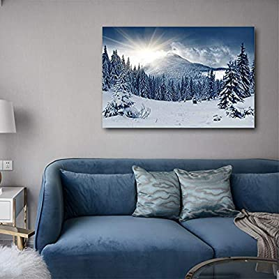Winter Mountain Snow Covered Trees - Canvas Art Wall Art - 32