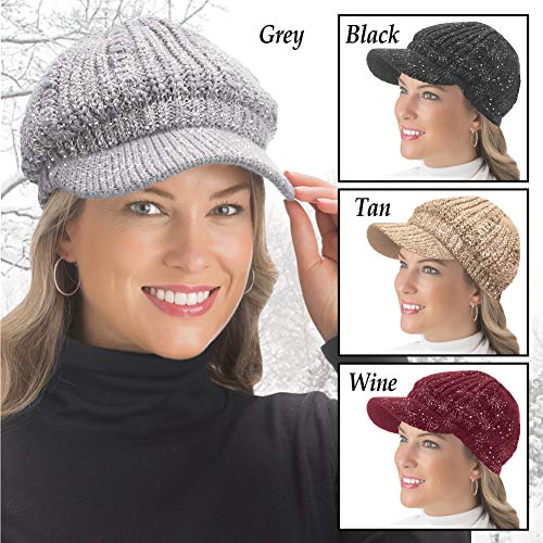 e93e54366 Lurex Cable Knit Beanie Hat with Visor Brim - Stylish Winter Accessories  for Warmth
