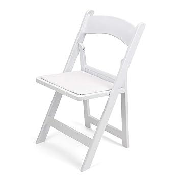 Amazon.com: 100 pieza Color Blanco Resina Silla plegable del ...