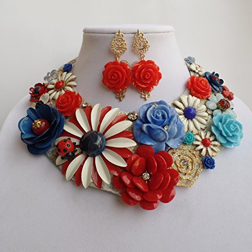 Claire Kern Creations Floral Canvas Collar Big Vintage Daisy Signed Necklace Earrings Betsey Johnson Flowers Handmade