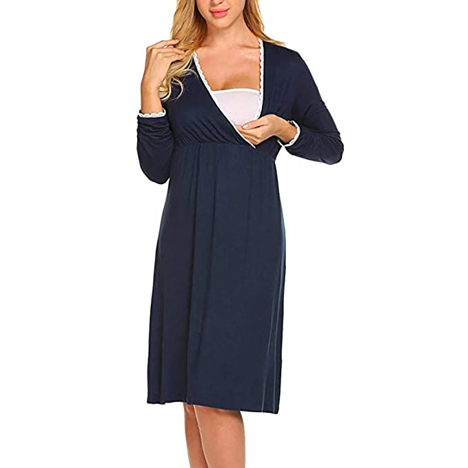 7bfb5597f0c16 Amazon.com: GoodLock Women Maternity Dress Nursing Clothes Casual Lace  Delivery Nightgowns Tracksuit Breastfeeding Gown Dress: Clothing