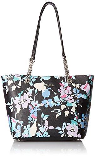 - Calvin Klein womens Calvin Klein Hayden Key Item Printed Saffiano Chain Tote, black/floral, One Size