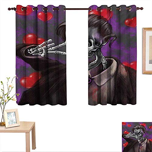 Skull Customized Curtains Romantic Skeleton Handsome Corpse Groom with Tuxedo Hearts in The Backdrop Print 55