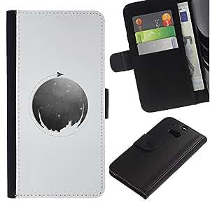 KLONGSHOP // Tirón de la caja Cartera de cuero con ranuras para tarjetas - Luna Círculo - HTC One M8 //
