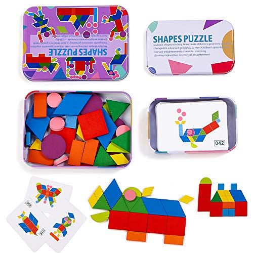 LiKee Wooden Pattern Blocks Jigsaw Puzzle Sorting and Stacking Games Montessori Educational Toys for Toddlers Kids Boys Girls Age 3+ Years Old and Classroom (34 Shape Pieces& 60 Cards in Iron Box)