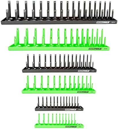 "OEMTOOLS 22233 6 Piece Socket Tray Organizer Set, Green and Black, Socket Rails, Holds 80 SAE & 90 Metric Sockets, Deep and Shallow, 1/4"", 3/8"", & 1/2"" Drive"