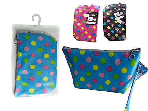 Printed Cosmetic Bag Size: 9.5''X5.5''X3'', 3 Asst Colors , Case of 144