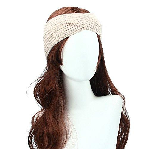 Shensee Women Bohemia Headband, Winter Weaving Cross Knitted Handmade Hairband