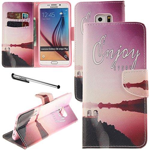 - Urvoix Galaxy S6 Edge Plus Case, Card Holder Stand Leather Wallet Case - Coast Seashore Flip Cover for G928 Samsung Galaxy S6 Edge+ Plus