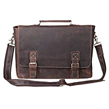 S-ZONE Oversized Men's Crazy Horse Leather Business Briefcase shoulder laptop Bag (Brown)