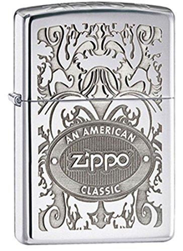 Zippo Lighter Patriotic Emblem, Brushed Chrome,One Size,Crown Stamp High Polish Crome
